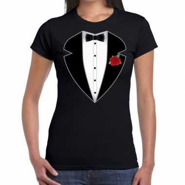 Carnaval gangster / maffia kostuum kostuum t shirt zwart dames