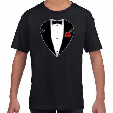 Gangster maffia kostuum kostuum t-shirt zwart kinderen