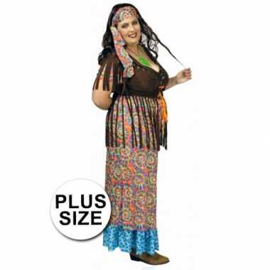 Carnaval  Gekleurd hippie grote maat dames kostuum