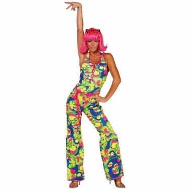 Carnaval  Gekleurde dames seventies kostuum