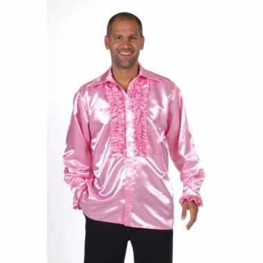 Carnaval  Glimmend roze overhemd rouches kostuum