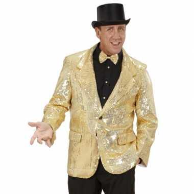 Carnaval  Glitter jas goud heren kostuum