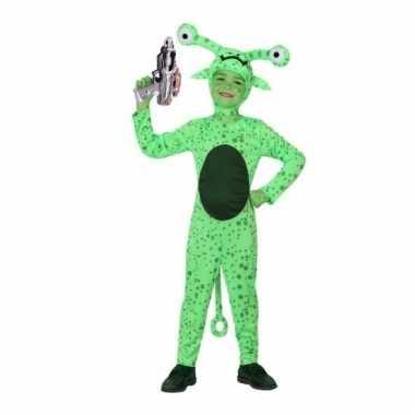 Groen alien kostuum space gun kinderen
