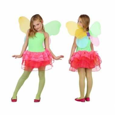 Carnaval  Groen rode vlinder jurk kids kostuum