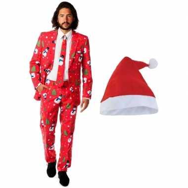 Carnaval heren opposuits kerst kostuum rood kerstmuts maat (m)
