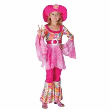 Carnaval  Hippie thema kostuum meisjes roze