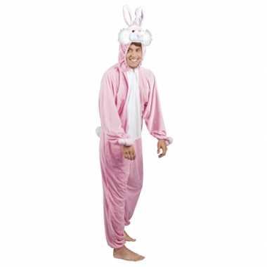 Carnaval huiskostuum konijn/ haas roze heren