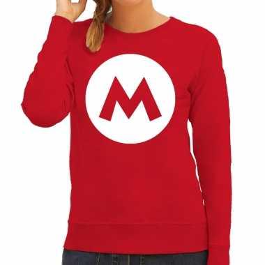 Carnaval italiaanse mario loodgieter verkleed sweater / trui rood dames kostuum