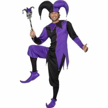 Carnaval joker kostuum zwart/paars heren