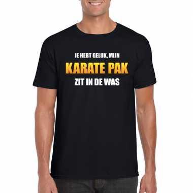 Karatekostuum zit was heren carnaval t shirt zwart