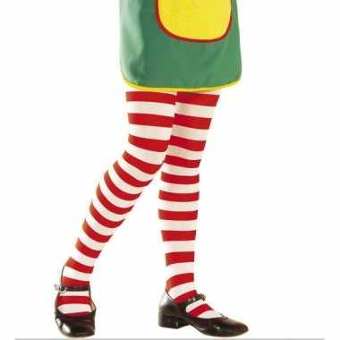 Carnaval  Kinder panty rood wit gestreept kostuum