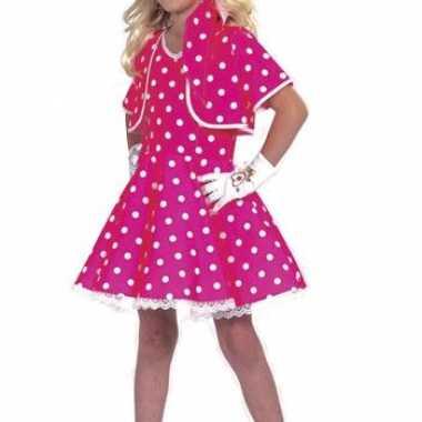 Carnaval kort roze meisjes jurkje stippen kostuum