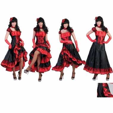 Kostuum dansjurk rood zwart