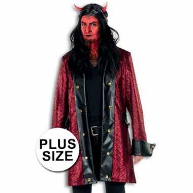 Carnaval  Lange verkleed jas duivel grote maat kostuum