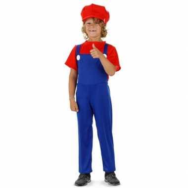 Carnaval  Loodgieter Mario verkleed kostuum rood jongens