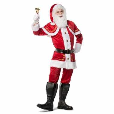 Carnaval  Luxe fluwelen kerstmannen pak kostuum