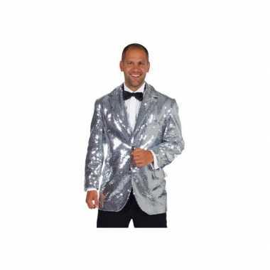Carnaval  Luxe zilveren glitter colbert heren kostuum