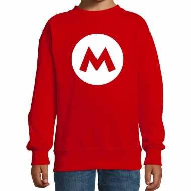Carnaval mario loodgieter sweater rood kids kostuum