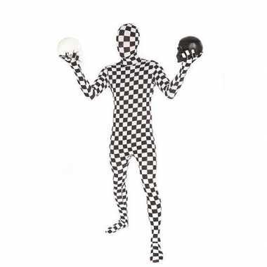 Carnaval  Morphsuit kostuum zwart wit geblokt