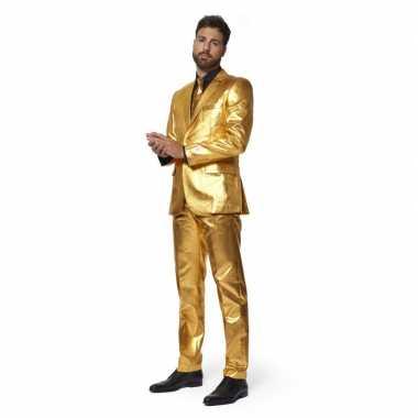 Carnaval net heren kostuum goud stropdas