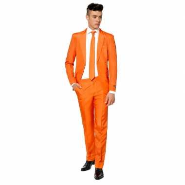 Carnaval net heren kostuum oranje stropdas