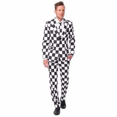Carnaval net heren kostuum zwart wit geblokt print