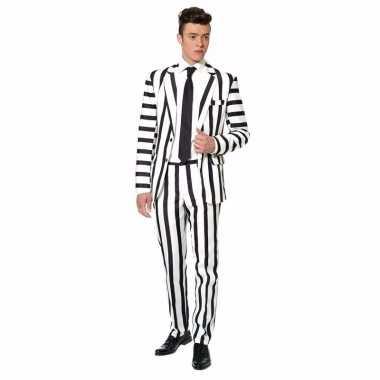 Carnaval net heren kostuum zwart witte streep print