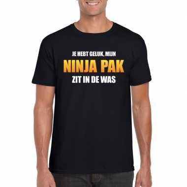 Ninja kostuum zit was heren carnaval t shirt zwart