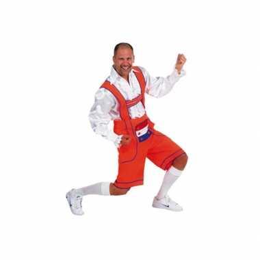 Carnaval  Oranje lederhose heren kostuum