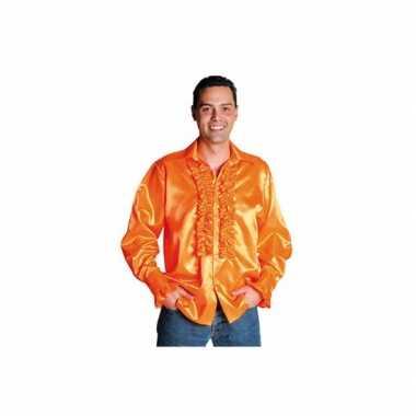 Oranje overhemd rouches