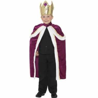 Carnaval  Paars gouden koningen cape kinderen kostuum
