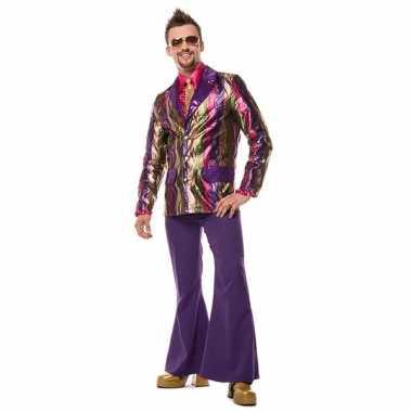 Carnaval  Paarse seventies broek heren kostuum