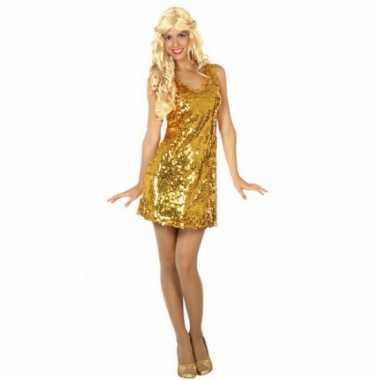 Carnaval  Pailletten jurkje goud dames kostuum