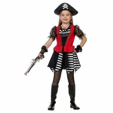 Carnaval  Piraten jurkje rood hesje meisjes kostuum