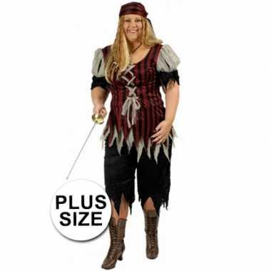 Carnaval  Piraten pak grote maat dames kostuum