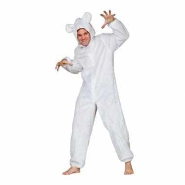 Carnaval  Pluche beren kostuum wit volwassen