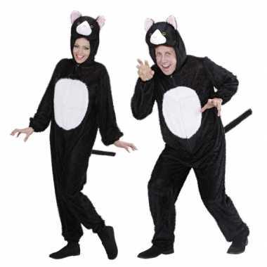 Carnaval  Pluche dieren kattenkostuum onesie zwart/wit kat