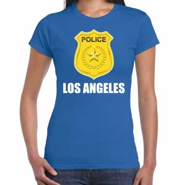 Carnaval police / politie embleem los angeles verkleed t shirt blauw dames kostuum