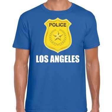 Carnaval police / politie embleem los angeles verkleed t shirt blauw heren kostuum