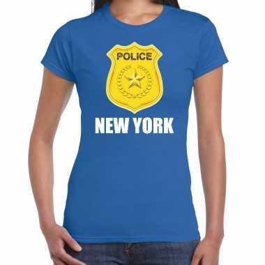 Carnaval police / politie embleem new york verkleed t shirt blauw dames kostuum