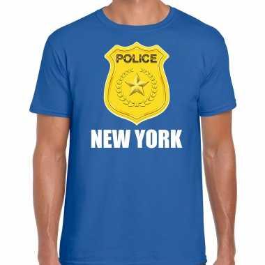 Carnaval police / politie embleem new york verkleed t shirt blauw heren kostuum