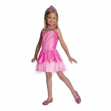 Carnaval prinses jurkje roze tiara meisjes kostuum