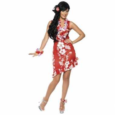 Carnaval  Rode Hawaii jurken accessoires kostuum