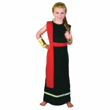 Carnaval  Romeins kostuum zwart rood meiden