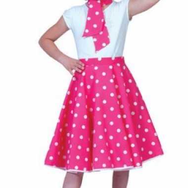 Carnaval  Roze fifties rok meiden kostuum