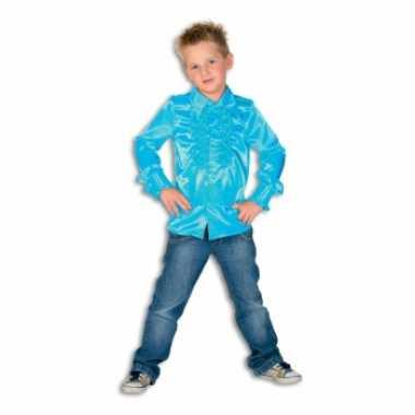 Carnaval  Satijnen blouse blauw jongens kostuum