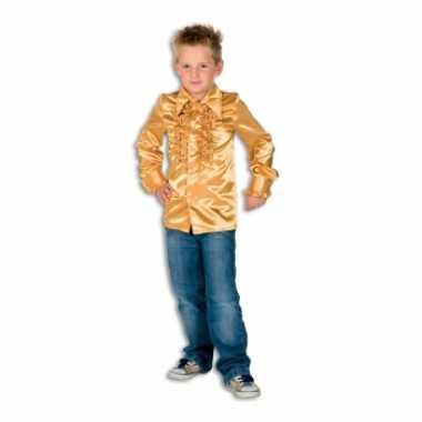 Carnaval  Satijnen blouse goud jongens kostuum