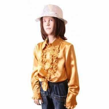 Carnaval  Satijnen blouse goud meisjes kostuum