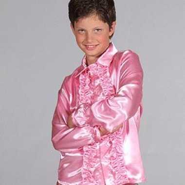 Carnaval satijnen blouse roze kinderen kostuum