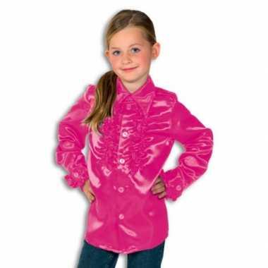 Satijnen blouse roze rouches blouse roze jongens